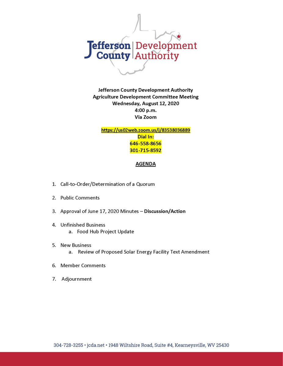 The Jefferson County Development Authority's Agriculture Committee will meet on Wednesday, August 12, at 4 p.m., via Zoom.  Zoom Meeting Link: