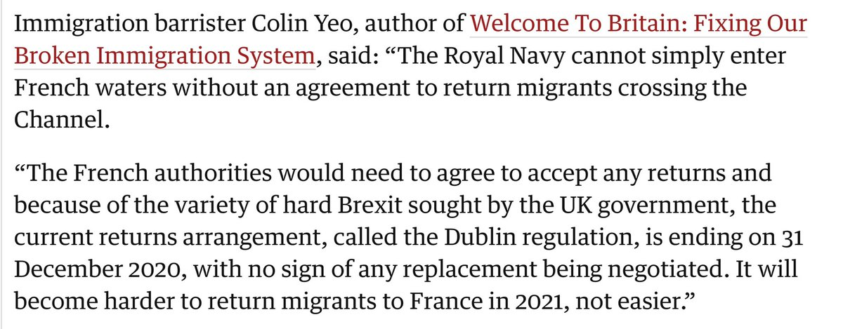 Returning migrants to France is currently possible under EU law, but that will cease at the end of 2020. After that, there is no legal basis or route for returns to France or any other EU country.