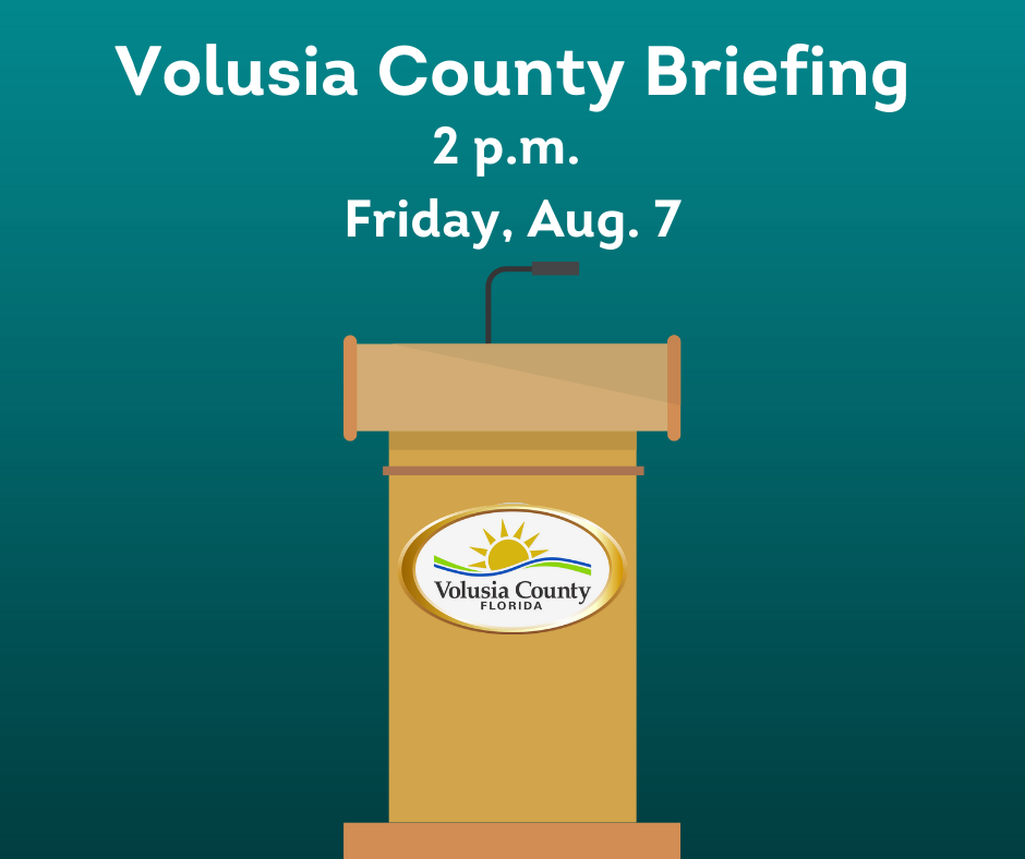 Volusia County will hold a briefing at 2 p.m. today to discuss the county's ongoing COVID-19 assistance programs, information on Animal Service's free food & microchip event and an update from the Florida Department of Health in Volusia County.  Watch at .