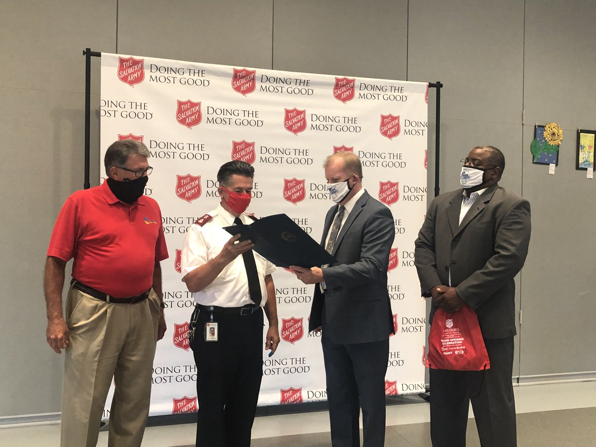 Congratulations to @SalArmyHBG on its new headquarters off 29th Street in Harrisburg! Commissioners @PriesMike and @ghartwick3 presented a proclamation in honor of its grand opening.