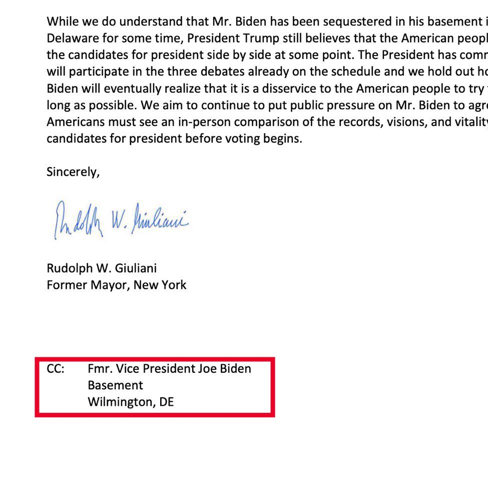 The Trump campaign sent a letter to the Debate Commission to ensure that Joe Biden would appear Live on Stage to Debate.  Check the address he used for Joe Biden   @RudyGiuliani is a MASTER TROLL
