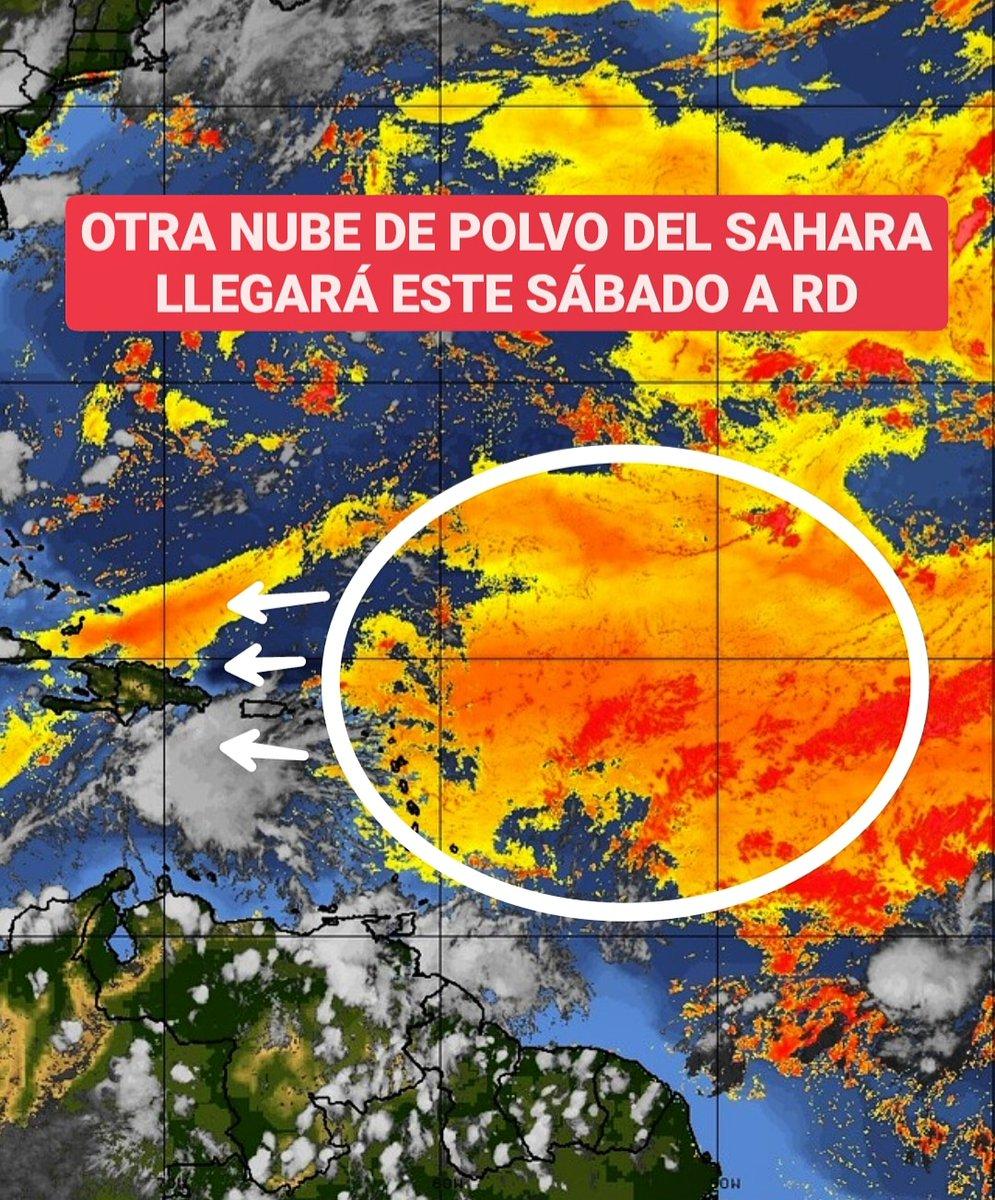 🟠Una nueva nube de polvo del Sahara llegará este sábado a República Dominicana para incidir hasta el lunes con el incremento de la sensación calurosa y las alergias respiratorias. 🟠Las partículas son entre moderadas y fuertes: se extenderán hasta la madrugada del lunes.  ⬇️
