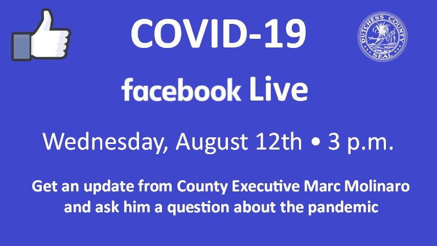 This afternoon, County Executive Molinaro holds his latest live COVID-19 update. Head to , and when the video goes live at 3 p.m., type your questions in the comments section of the post and we'll answer as many questions as possible. We'll see you at 3 pm!