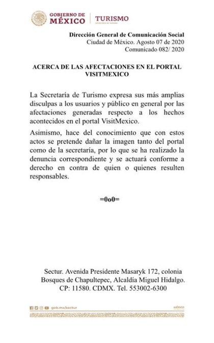 La Secretaría de Turismo va a tomar acciones contra la Secretaría de Turismo que busca desprestigiar a la Secretaría de Turismo.
