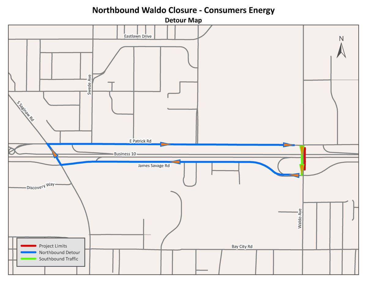 TRAFFIC ALERT: NB Waldo Ave will be closed from James Savage Rd to E. Patrick Rd beginning Mon, 8/10 for 6-8 weeks for a @ConsumersEnergy utility project. SB traffic will remain on Waldo; NB traffic will detour per route below.  Map: .