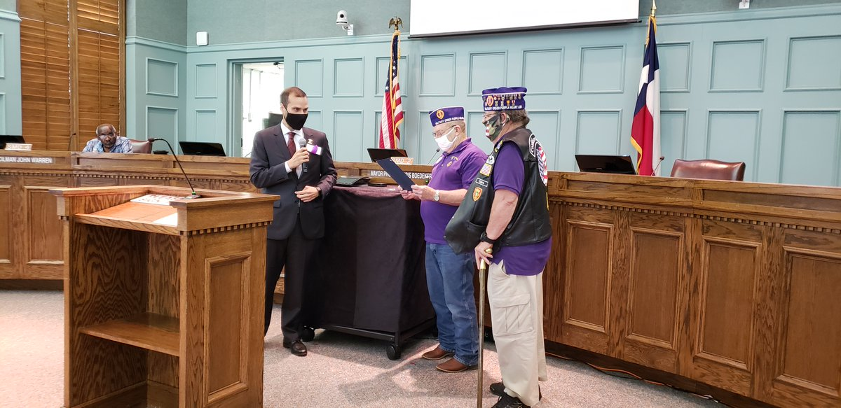 City Council recognizes August 7, 2020 as Purple Heart Day in Cleburne.   Mayor Pro Tem Chris Boedeker recited the proclamation for veterans Lorin Storey and Ron Fry. This reading was put together with the help of the Cleburne Unit 50 American Legion Auxiliary.