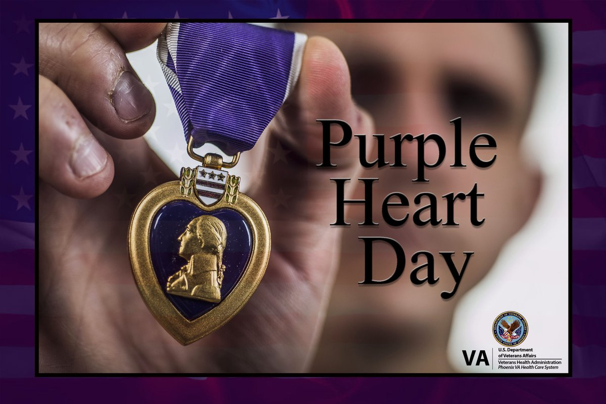 Today is Purple Heart Day. It is a day for us to remember & honor the men & women who were either wounded on the battlefield or paid the ultimate sacrifice with their lives  So, thank you to our past & present Purple Heart recipients who have suffered & sacrificed for our country