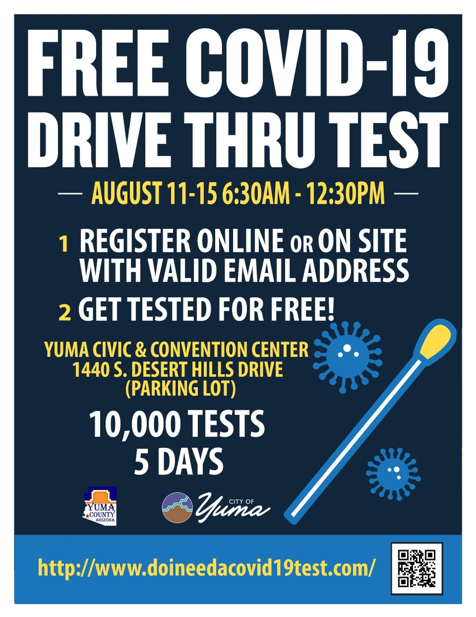 The Yuma Civic Center will host a massive joint effort with Yuma County and the City to offer up to 10,000 free COVID-19 tests to area residents this coming Tuesday through Saturday. Help pass the word to those you know who might need this service.