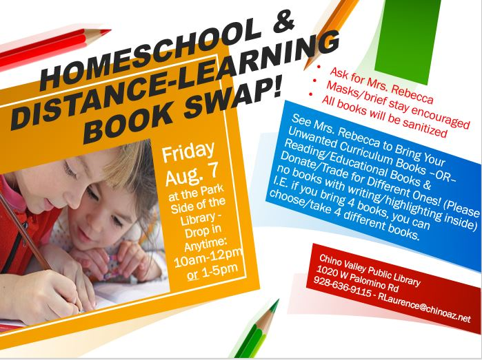 Come on down to the Library today ONLY (through 5pm) to swap educational books for free! See details below.