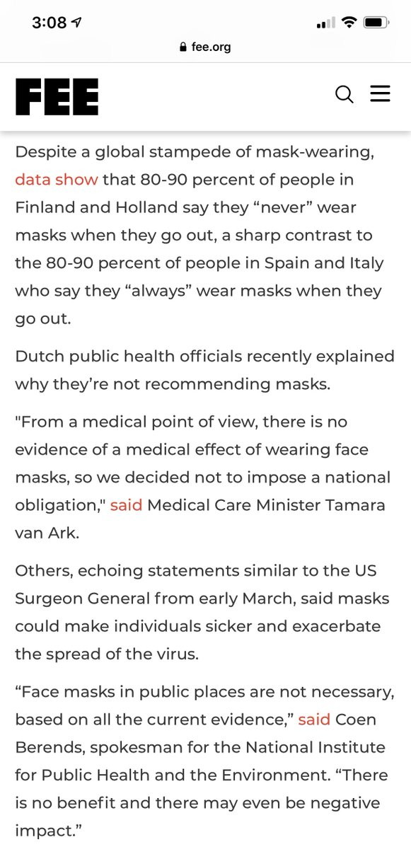 This is just perfect. Scientists in intelligent countries in Europe are telling the truth about masks, that they're useless at best, and potentially dangerous at worst.   Instead of intellectual honesty in the face of panic, we have Fauci and Birx.