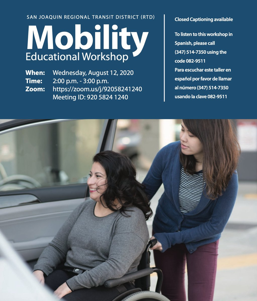 Join us at our Mobility Educational Workshop to learn all the details regarding new mobility options! Topics include Van Go!, My Ride, and RTD On-Demand. Closed captioning and live Spanish will be available.