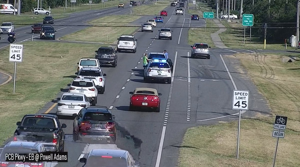 Motor Vehicle Accident (MVA) on East bound PCB Pkwy at Sea Turtle Dr. The outside lane is blocked.  Emergency responders are on scene.  Use caution.
