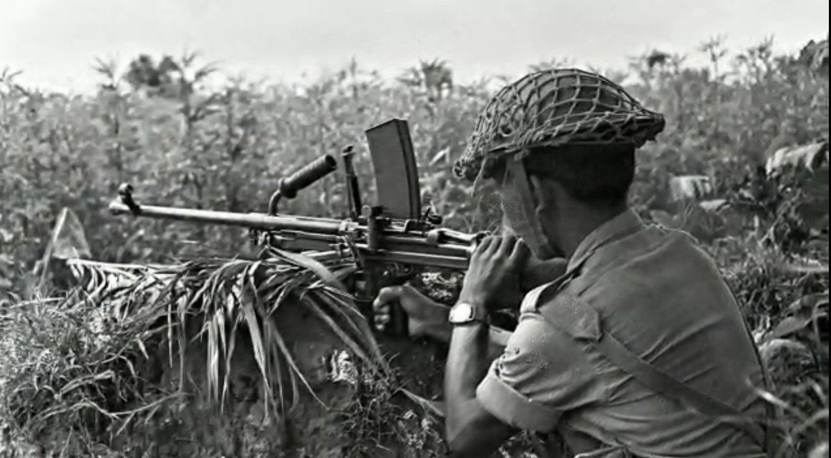 A BSF light machine gunner in action on the Eastern Front, 1971.  सीमा सुरक्षा बल - सर्वदा सतर्क  #73GloriousYears #JaiHind #AjeyaPrahari #FirstLineofDefence #NationFirst