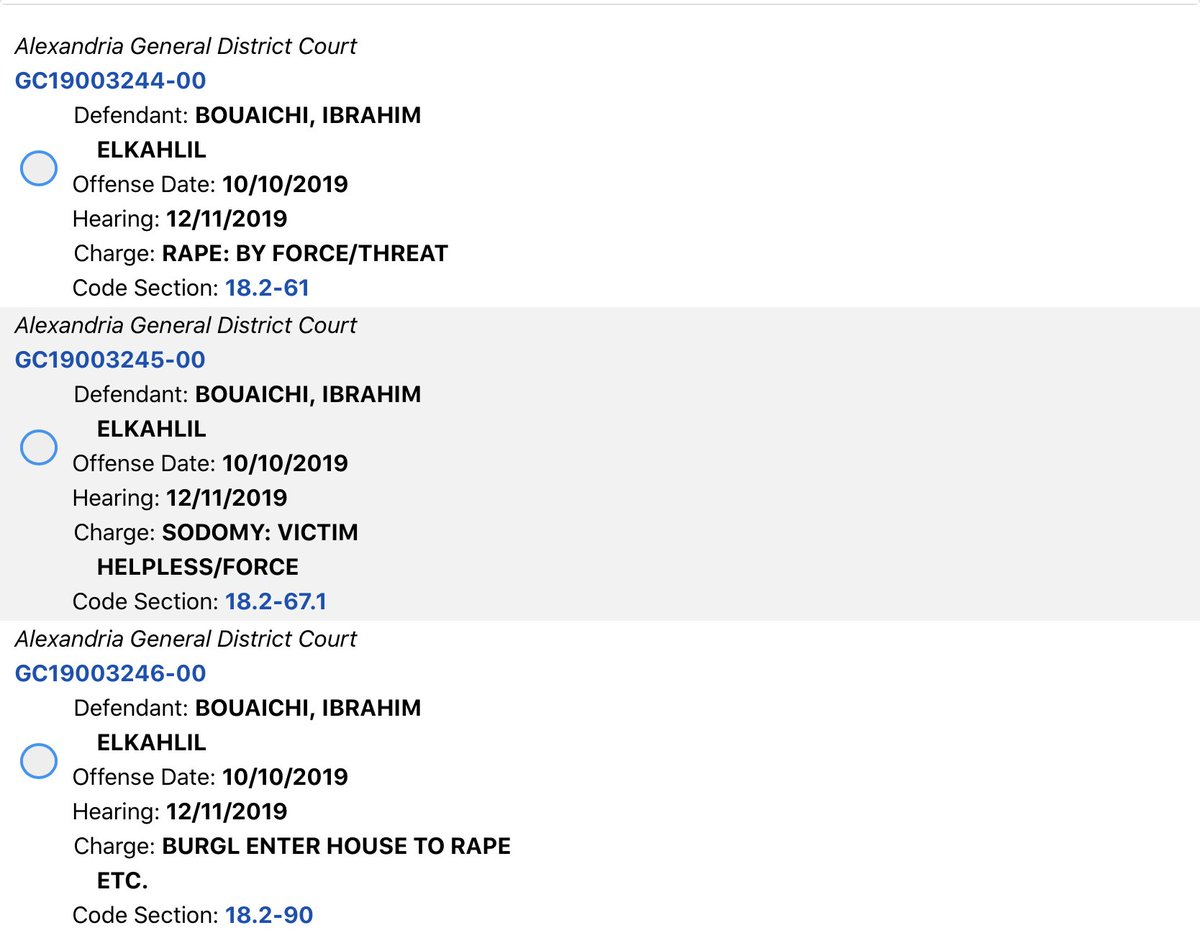 Here are the original charges filed against Ibrahim Bouaichi. He was later released due to COVID and has allegedly murdered the woman he was arrested for raping in Alexandria, Virginia.    He appears to have been set free without court-ordered monitoring