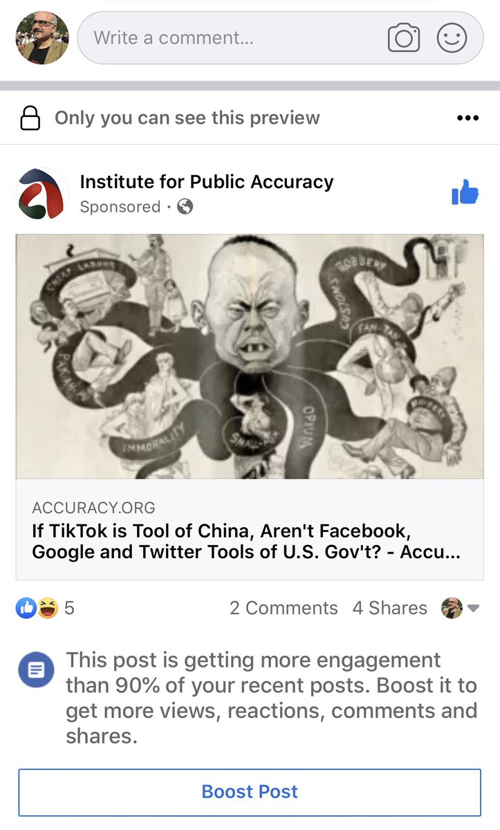 """Facebook is telling me that news release I put out is getting 90 percent more on traffic than usual. Suggesting I promoted it. Funny thing is, it's attacking Facebook. Reminds me of Lenin saying capitalists """"will sell us the rope with which to hang them."""""""
