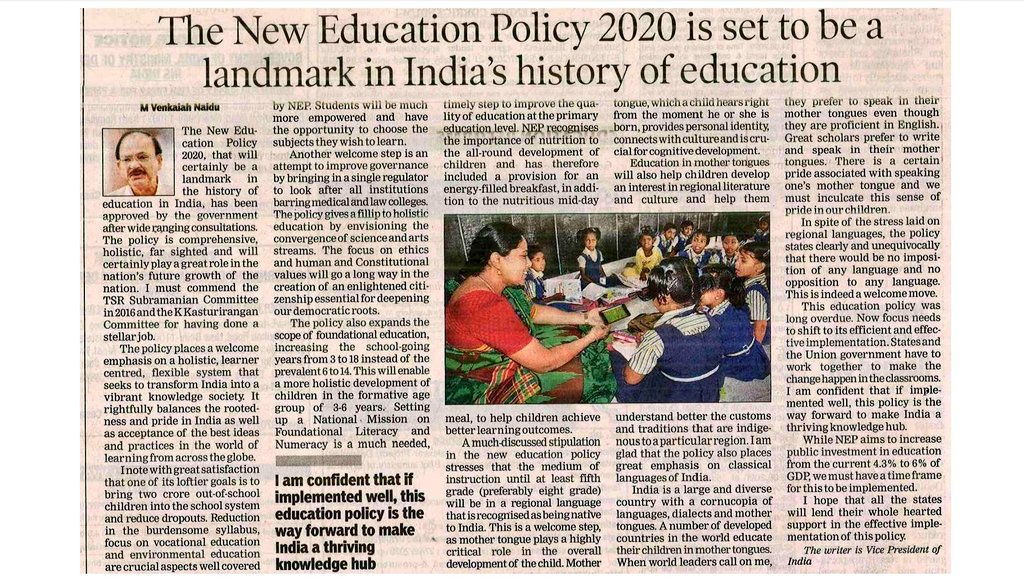 The New Education Policy 2020 is set to be a landmark in India's history of education. Read my article in today's @timesofindia