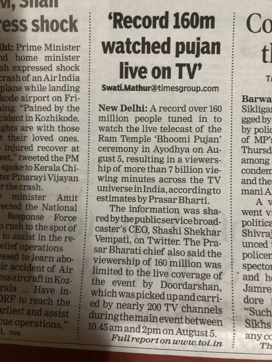 2019 में बीजेपी को वोट मिले: क़रीब 23 करोड़  2020 मंदिर भूमिपूजन टीवी पर देखा:16 करोड़