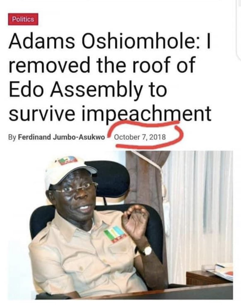 #EdoAssemblyCrisis-Lest we forget, The former Governor of Edo & the sacked Nat. Chairman of @OfficialAPCNg, Adams Oshiomhole, removed the roof of the Edo state house of assembly in 2014 to survive impeachment. Condemning the action of @GovernorObaseki is playing to the gallery