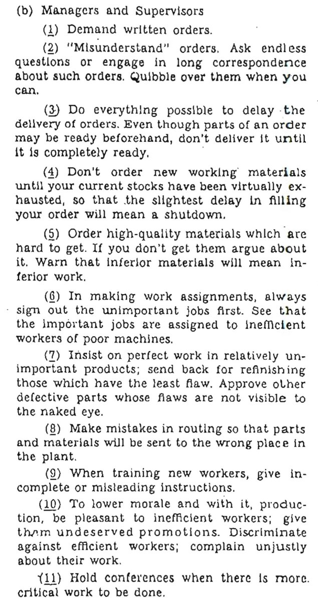 This CIA  checklist for WW2 saboteurs reads like a checklist of how to academia