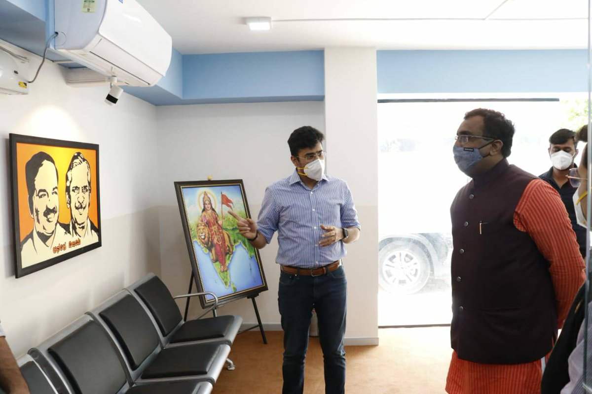 Sri @rammadhavbjp visited my office today & checked #COVIDRaksha  He appreciated our young team for blending Whatsapp with health services on 080 6191 4960 for ease of citizens  I'm grateful to him for taking time out & encouraging us to reach larger audiences thru the platform
