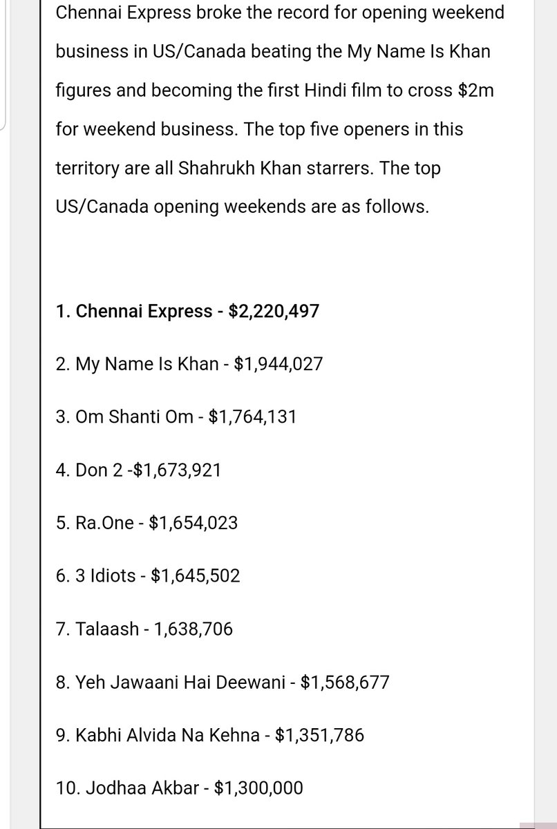 Chennai Express First Indian movie to open $2M+ weekend in USA/Canada.  Top 5 Highest Weekends belongs to SRK at the time. Domination 🙏🔥 @iamsrk   7 YEARS OF RECORD BREAKING CE
