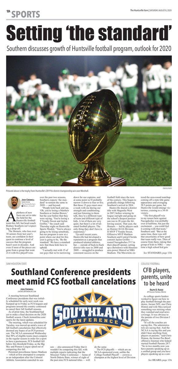 RT @Item_Criswell: Today's @HuntsvilleItem sports front @APSE_sportmedia #txhsfb
