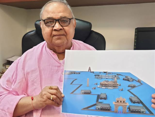 Meet the Architect of Ram Mandir, Ayodhya, Shri Chandrakant Sompura 77ys old ,comes from a family of temple architects from Ahmedabad.  The original design was prepared by Sompura ji in 1889.He was asked to desing Ram Mandir by VHP President Ashok Singhal ji 30 yrs ago.