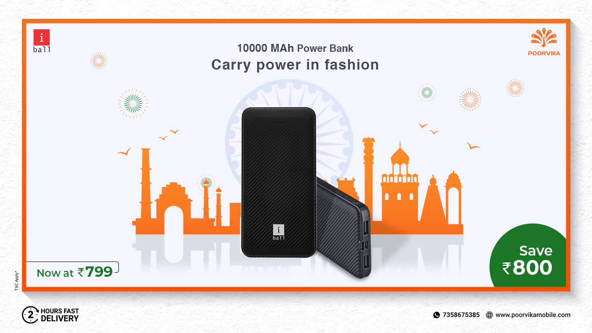 Super Stylish #Powerbanks at an Incredible #OfferPrice ! Save Rs. 800 On #Shopping #iBallPowerbank at #PoorvikaMobiles #IndependenceDaySale  #Shop Online:  Experience 2 hours* #ExpressDelivery  #PowerBankOrginal #gadgets #FreeHomeDelivery #SpecialSale