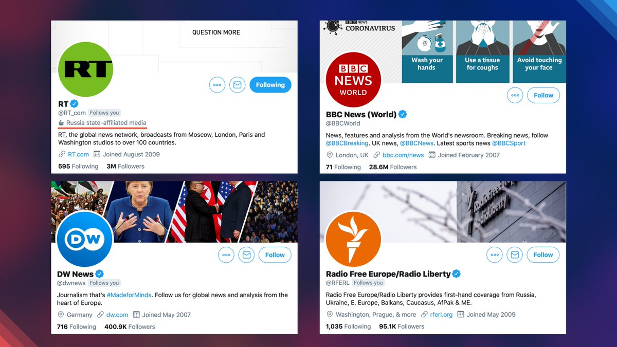❗ We regard the move by the administration of @Twitter, following @Facebook, to label #Russian media accounts as state-affiliated, while #Western media outlets financed by the government remain unlabeled, as a violation of the key democratic principles 🔗
