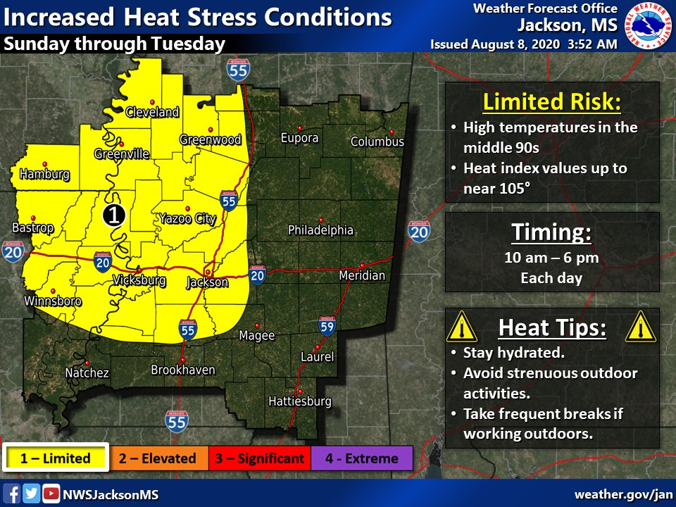 High temperatures in the middle 90s, combined with very humid conditions, will create heat indices near 105 degrees Sunday through Tuesday.
