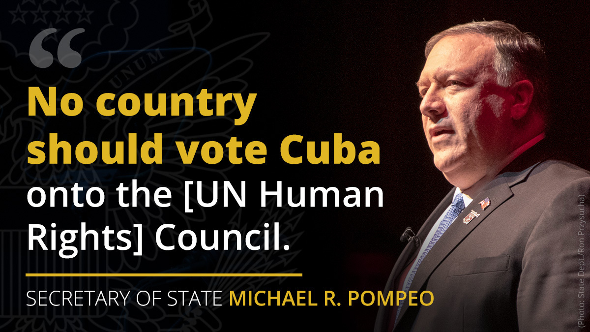 It's outrageous that the @UN_HRC would offer a seat to Cuba, a brutal dictatorship that traffics its own doctors under the guise of humanitarian missions. Any country that values human rights should refrain from voting Cuba onto the Council.