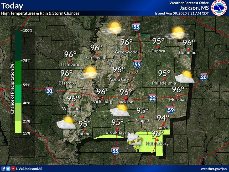Mostly sunny skies will prevail across most of the area today, but an isolated storm or two is possible across the Pine Belt Region. High temperatures will mostly be in the mid 90s.