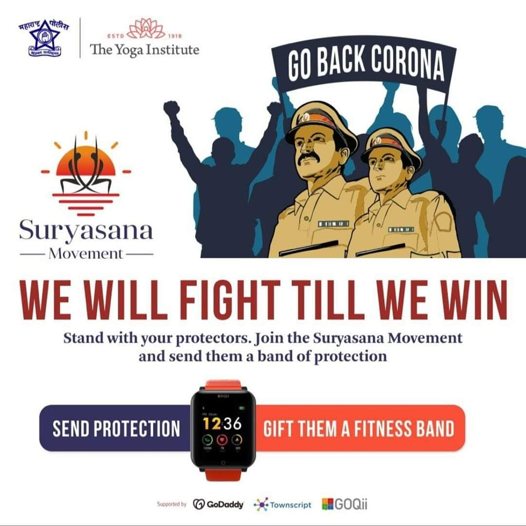 Brave men, women of police aren't standing down until they have defeated #COVID19 Donate a Health & Wellness band to your Khaki warriors by joining the SURYASANA Movement. And boost your immunity by practicing Surya Namaskar  #JaiHind #MaharashtraPolice 🇮🇳