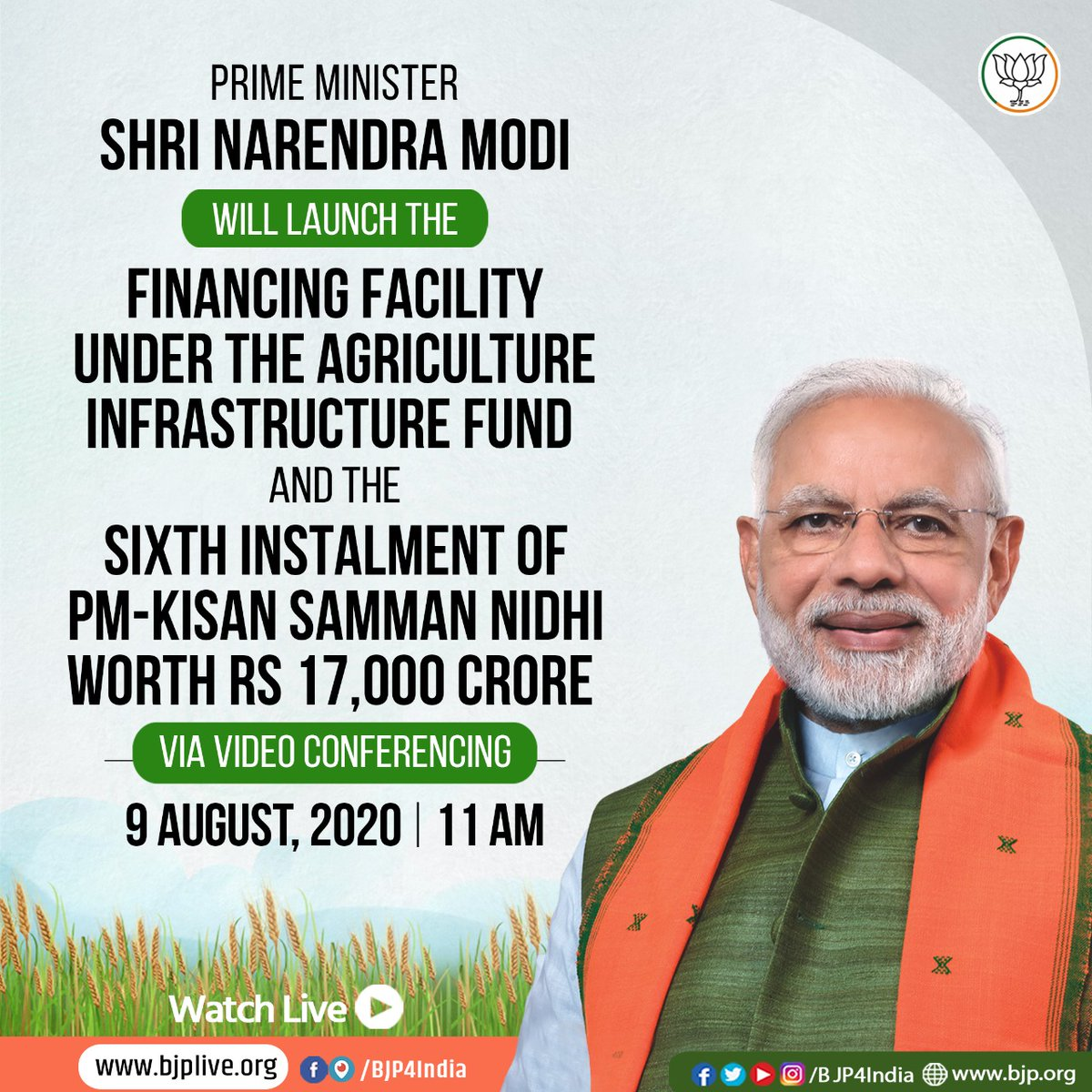 PM Modi will launch the Financial Facility under Agriculture Infrastructure Fund and the sixth instalment of PM-Kisan Samman Nidhi worth Rs 17,000 crore at 11 am today.  Watch on  •  •  •   #AtmaNirbharKrishi