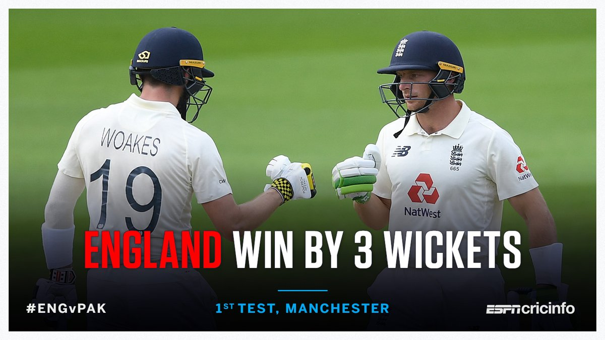 Woakes and Buttler power a thrilling chase - England win the first Test! 🏴 #ENGvPAK