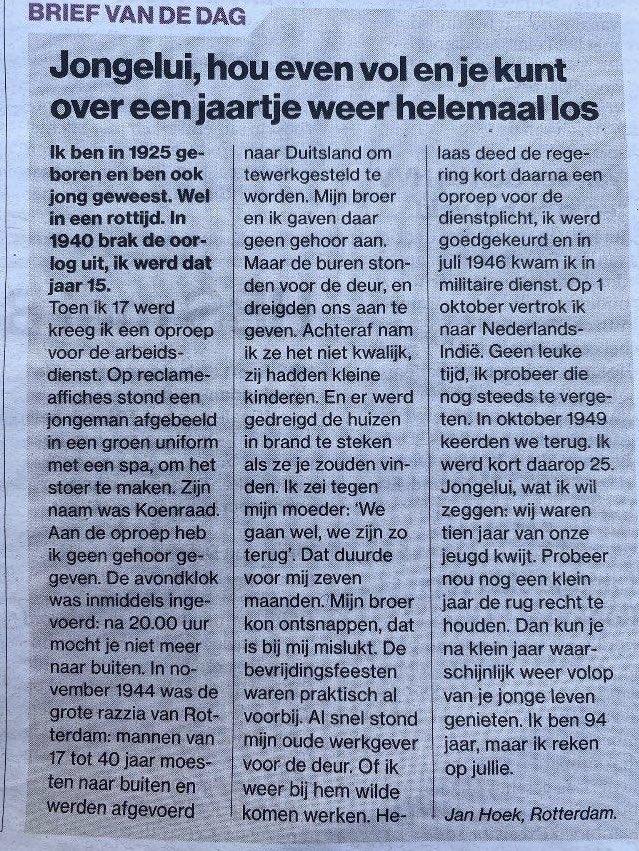 test Twitter Media - 'Ik ben 94 jaar, maar ik reken op jullie'. Prachtbrief van Jan Hoek uit Rotterdam. #alleensamen https://t.co/gGRNi48lJC