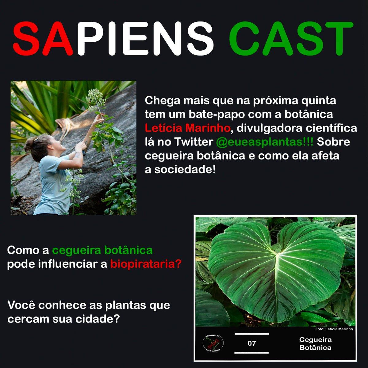 Semana que vem tem novidade!! Quinta-feira sai um novo episódio do @CastSapiens e nele tivemos uma conversa super legal sobre a cegueira botânica.  Espero que curtam ouvir tanto quanto curtimos gravar! 💚🌿