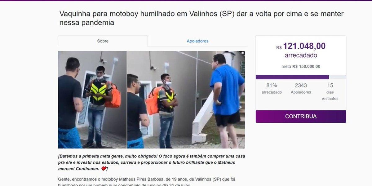 Internautas criam 'vaquinha' para ajudar entregador humilhado com ofensas raciais em Valinhos ==>>  #G1