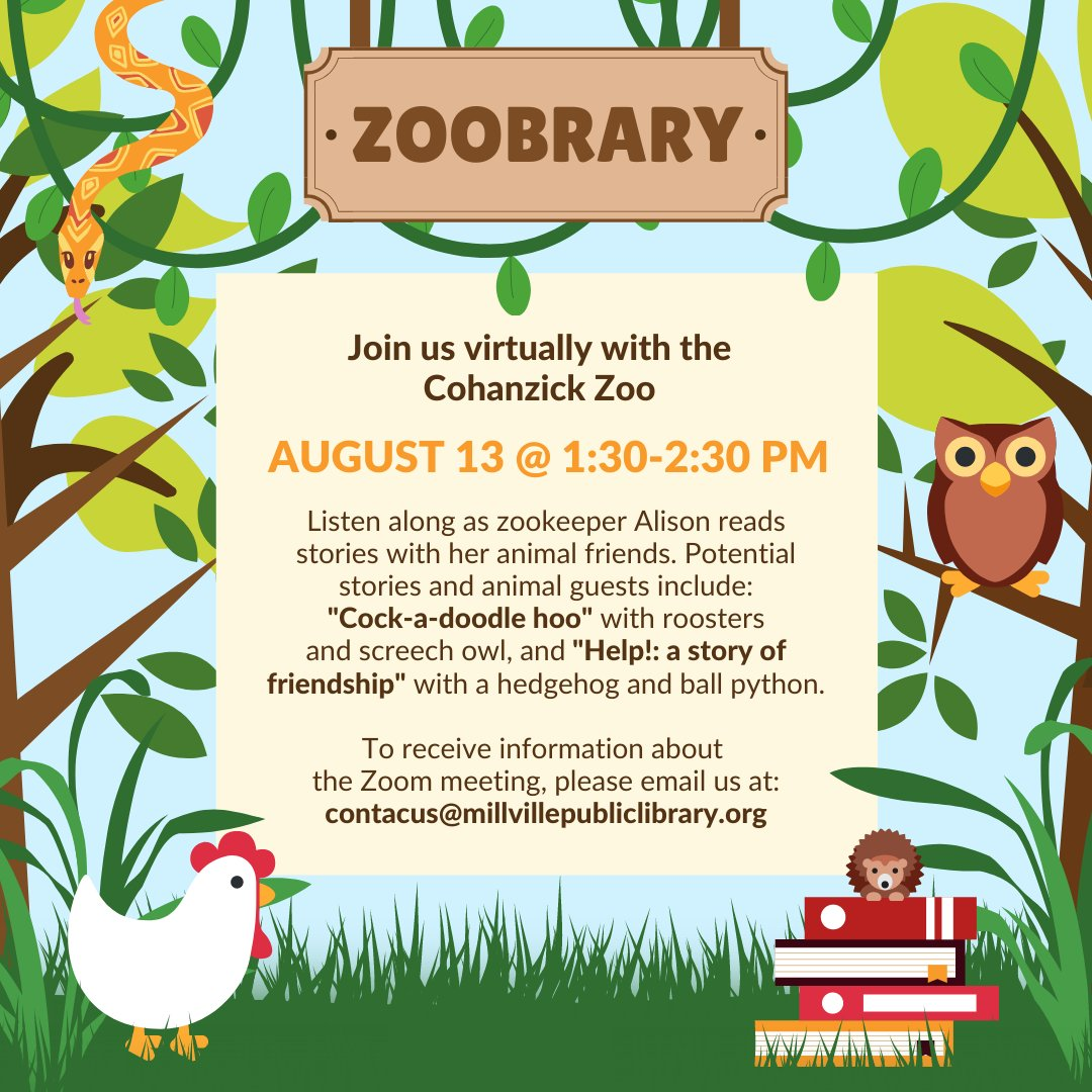 We're partnering up with the Cohanzick Zoo for a virtual Zoobrary!! Meet zookeeper Alison and her animal friends  as she reads some stories! August 13, 2020 @1:30–2:30 PM! Come check out all of the fun! #ImagineYourStory