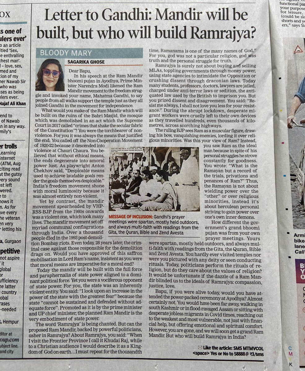 A letter to Mahatma Gandhi. Dear Bapu, Ram Mandir will be built, but who will build Ramrajya in India? My piece in today's Sunday @timesofindia