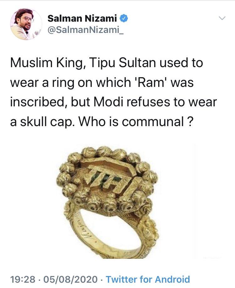 Zaroor kisi Hindu Raja ko maar ke churaayi hogi Tipu Sultan kept invading neighbouring Hindu Raajyas throughout his rule. He was of mindset that entire India under Islamic Caliphate rule, and non Muslims slaves (3rd class citizens). Tipu was Ottoman Caliphate's approved Sultan