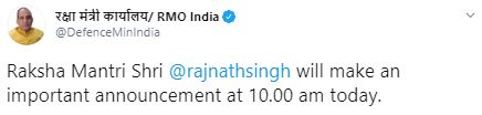 #NewsAlert | Defence Minister @RajnathSingh to make an important announcement at 10 AM today.