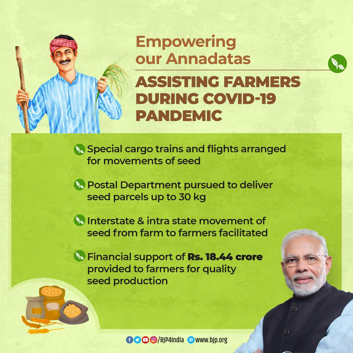 I congratulate & thank PM Shri @narendramodi ji for launching financing facility under Agriculture Infrastructure Fund and releasing benefits under PM-KISAN.   A resolute step towards empowering farmers, giving them due dignity and protecting their livelihood. #AatmaNirbharKrishi