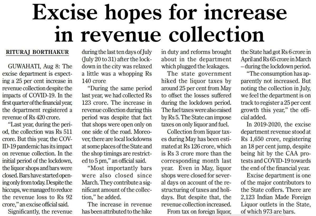 Regulation in consumption, complete transparency in the whole process right from allocation to delivery & dedication of the whole team have been the key pillars of massive revenue collection of Assam Excise Department.