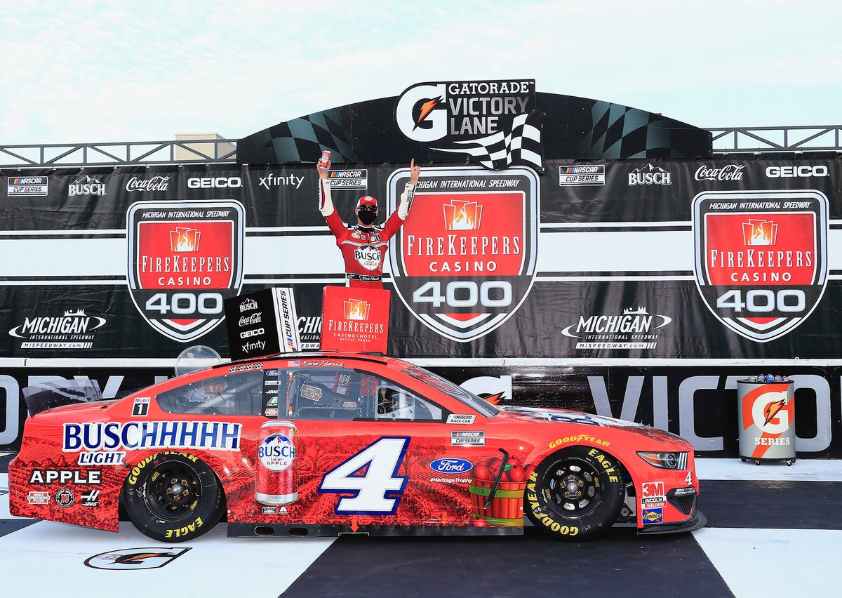 We couldn't have picked a better place for @KevinHarvick and the #BuschLightApple team to win. 🍎 @MISpeedway is a special place for @FordPerformance and we're so proud to bring the No. 4 Ford Mustang to victory lane. The #HeritageTrophy is within reach. 🏆   #NASCAR
