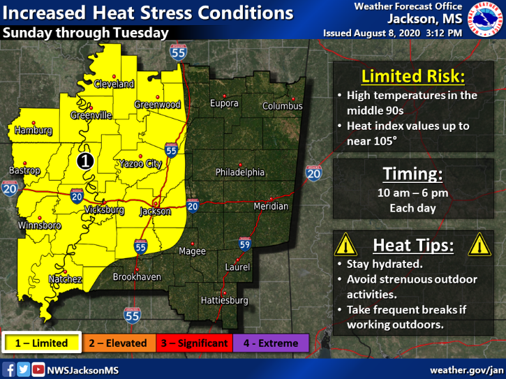 High temperatures in the middle 90s, combined with very humid conditions, will create heat index values near 105 degrees Sunday through Tuesday.