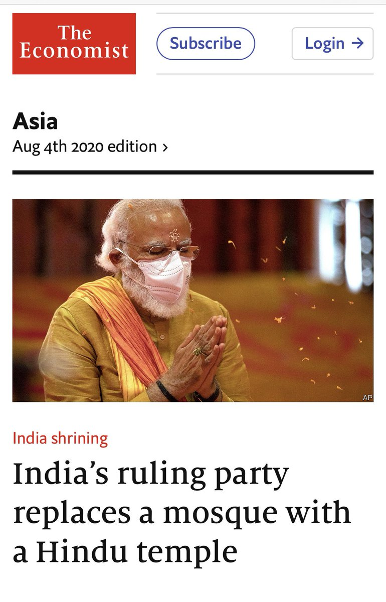 Deep anti-Hindu bias of @TheEconomist is clear with this false, malicious & mischievous headline.  Sadly, an international publication has reduced itself to a click baiting troll.  If there is ounce of credibility left, you will change your headline to reflect facts accurately.