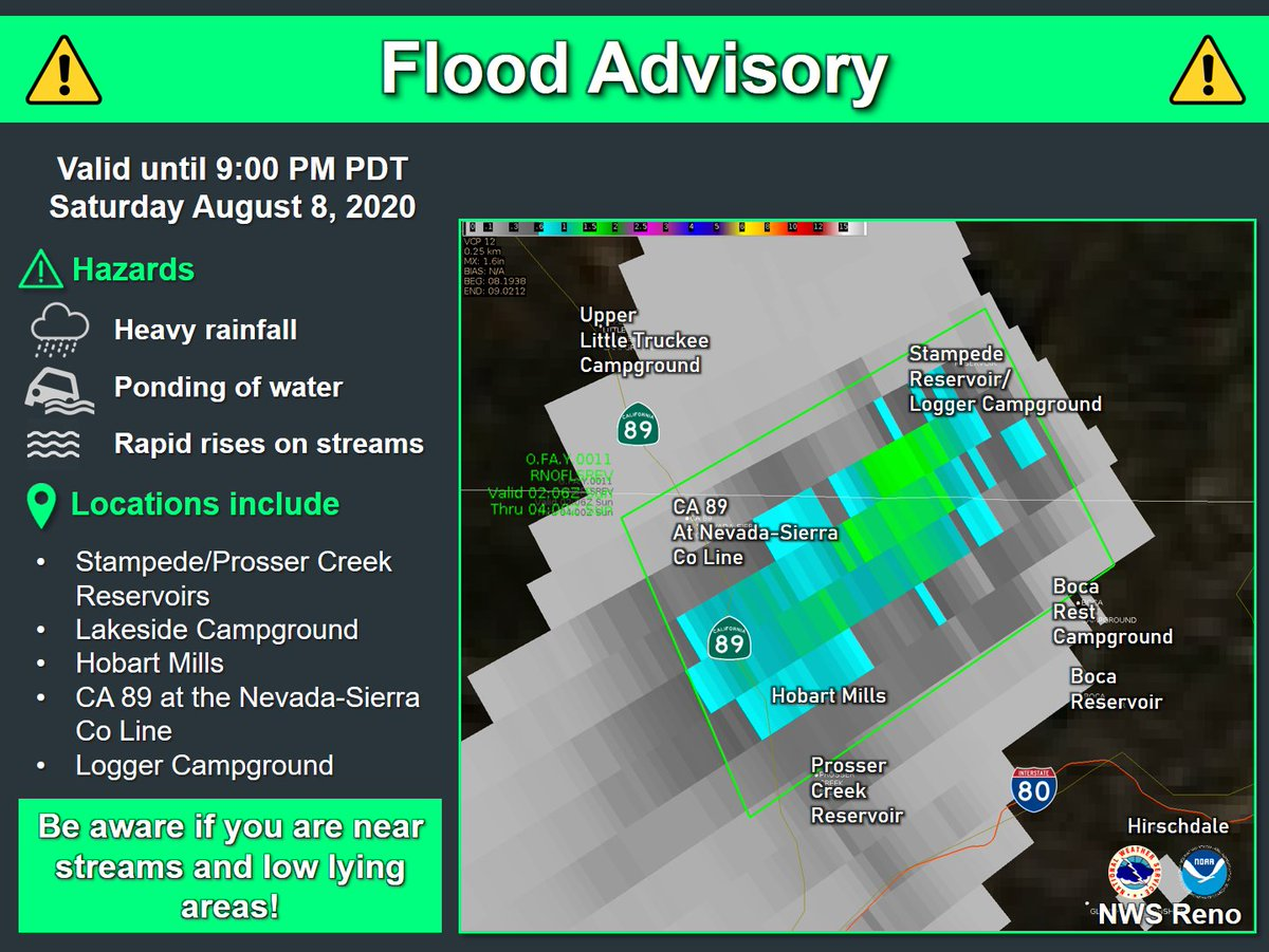 ***FLOOD ADVISORY*** Doppler radar indicated heavy rain due to thunderstorms. This will cause minor flooding in the advisory area. Up to one inch of rain has already fallen. Campers and hikers should avoid streams or creeks.