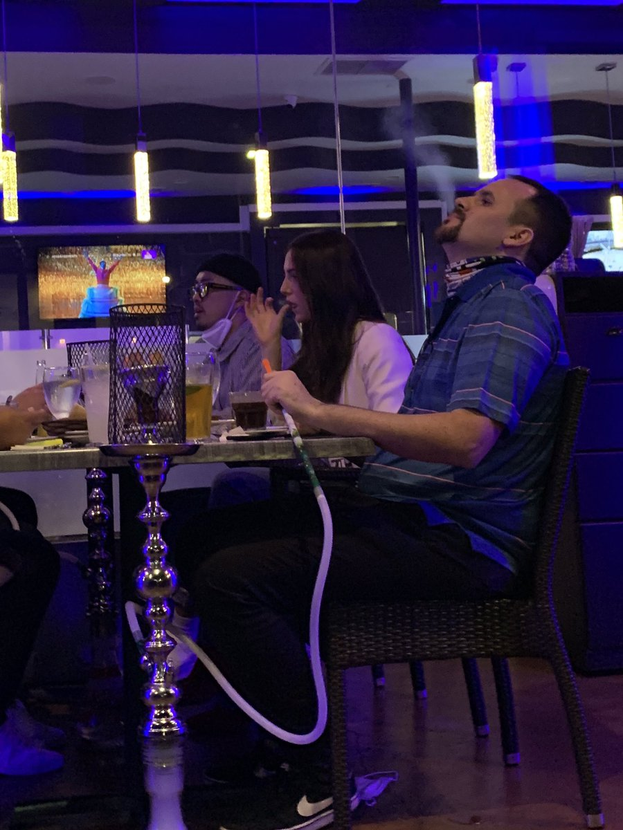 At a hookah bar in Hollywood having dinner. So lemme get this straight:  Californians can't go to church, kids can't go to school...  but you can literally suck #COVID bubbles out of a tube and nozzle you SHARE with 3 other people?  Please help me make this make sense.