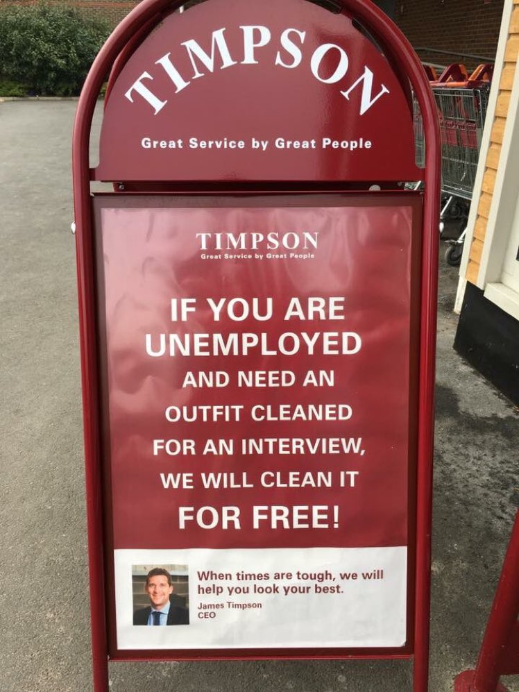 What a fantastic gesture by Timpson dry cleaners. Free dry cleaning for the unemployed who have a job interview.